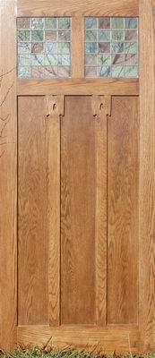 photograph of a bespoke oak arts and crafts door by samsons joinery
